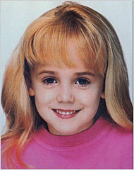 JonBenet Ramsey in one of the few shots where she isn't in pageant garb