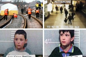 James' body was found at the train tracks; CCTV footage of his abduction; the killers Thompson & Venables
